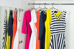 Bright modern fashion women's dresses Stock Photo