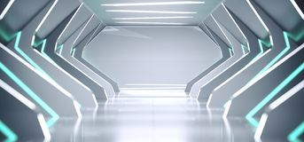 Bright Modern Futuristic Alien Reflective Concrete Corridor Tunn. El Empty Room With White And Blue Neon Glowing Lights Hexagon Floor Background 3D Rendering vector illustration