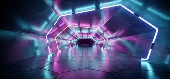 Bright Modern Futuristic Alien Reflective Concrete Corridor Tunn. El Empty Room With Purple And Blue Neon Glowing Lights Hexagon Floor Background 3D Rendering vector illustration