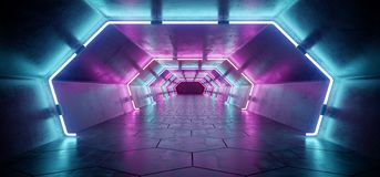 Bright Modern Futuristic Alien Reflective Concrete Corridor Tunnel Empty Room With Purple And Blue Neon Glowing Lights Hexagon Fl. Oor Background 3D Rendering vector illustration