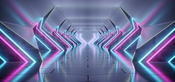 Bright Modern Futuristic Alien Reflective Concrete Corridor Tunn. El Empty Room With Purple And Blue Neon Glowing Lights Hexagon Floor Background 3D Rendering royalty free illustration