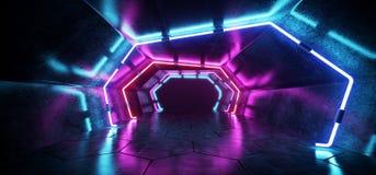 Bright Modern Futuristic Alien Reflective Concrete Corridor Tunnel Empty Room With Purple And Blue Neon Glowing Lights Hexagon Fl royalty free illustration