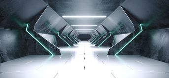 Bright Modern Futuristic Alien Reflective Concrete Corridor Tunn. El Empty Room With White And Blue Neon Glowing Lights Hexagon Floor Background 3D Rendering stock illustration