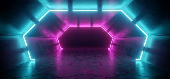 Bright Modern Futuristic Alien Reflective Concrete Corridor Tunnel Empty Room With Purple And Blue Neon Glowing Lights Hexagon Fl. Oor Background 3D Rendering royalty free illustration