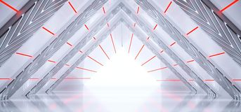 Bright Modern Futuristic Sci-Fi Alien Ship Tunnel With Red And W. Hite Glowing Abstract Shape Lights And Reflective Surface With Black End And Empty Space 3D Stock Illustration