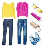 Bright modern jeans blouse set collage isolated. Stock Image