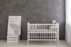 Bright and modern nursery for your baby girl stock images