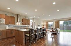 Bright modern open plan kitchen room interior Stock Photo