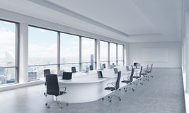 A bright modern panoramic meeting room in a modern office with New York city view.  Royalty Free Stock Photography