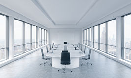 A bright modern panoramic meeting room in a modern office with New York city view. The concept of the meeting of the Board of Dire. Ctor of the huge Stock Image