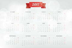 Bright Modern white Calendar for 2017. Week Starts Monday. Crear design Vector illustration Stock Photos