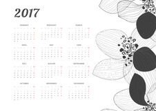 Bright Modern white Calendar for 2017. Week Starts Monday. Bright Modern white Calendar for 2017 with creative floral background. Week Starts Monday. Crear stock illustration