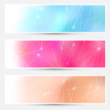 Bright molecule connection cards set Stock Photos