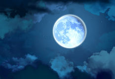 Bright moon in the night sky. A bright full moon in the night sky among the clouds Royalty Free Stock Image