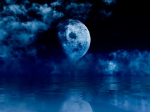 Bright moon over soft waves Royalty Free Stock Images