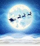 Bright moon and the silhouette of Santa Claus Stock Photography