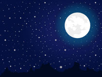 Bright moon and stars Stock Photography