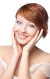 Bright morning closeup portrait of beautiful woman royalty free stock photography