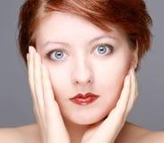 Bright morning closeup portrait of beautiful woman stock photos