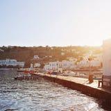 Bright Morning Sun on the Dock of Mykonos Town Stock Photos