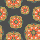 Bright mosaic seamless pattern. Bright mosaic decorative flowers on dark background Stock Photo
