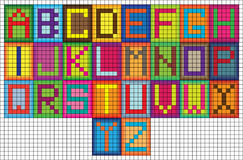 Bright mosaic tiles alphabet letters Royalty Free Stock Image