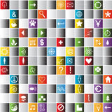 Bright mosaic tiles background with icons Royalty Free Stock Photos