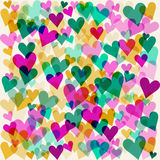 Bright motley colored hearts seamless pattern background for use in design for valentines day or wedding card Stock Image