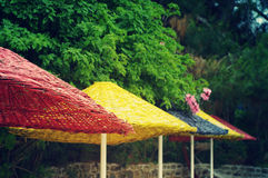 Bright multi-colored beach umbrellas against the background of greens Royalty Free Stock Image