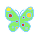 Bright multi colored butterfly over white royalty free stock photography
