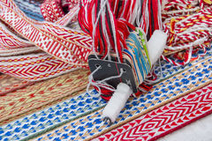 Bright multi-colored tapes. Ethnic Slavic belt for clothes. Stock Images