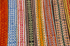 Bright multi-colored tapes. Ethnic Slavic belt for clothes. Royalty Free Stock Image
