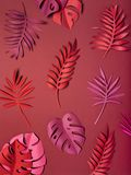 Bright tropical paper leaves. Bright multi colored tropical paper leaves. Concept botanical paper art. Flat Lay, top view Stock Photo
