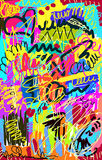 Bright multi-colored untidy background. With scrawl and curl Stock Photography