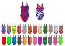 Bright multi colored young girl print and solid fabric swimsuit design template Stock Photos