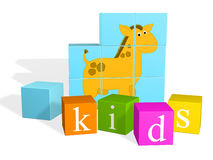 Bright multi - coloured children's cubes Stock Photography