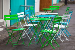 Bright Multicolor Cafe Tables and Chairs Royalty Free Stock Photography