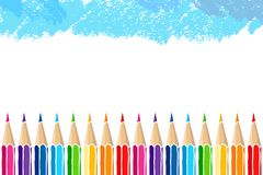 Hand drawn multicolor pencils frame royalty free illustration