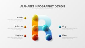 Bright multicolor R character design illustration vector alphabet 5 option infographic vector illustration