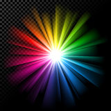 Bright multicolor rays on transparent background Stock Image