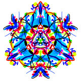 The bright Multicolor triangular pattern. Painted mandala. Royalty Free Stock Images