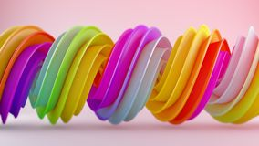 Bright multicolor twisted spiral shape 3D rendering. Bright multicolor twisted spiral shape. Computer designed abstract geometric 3D rendering Royalty Free Stock Photography