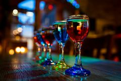Cocktail bar multicolored cocktails in glass glasses stock image