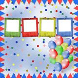 Bright multicolored background. With balloons and confetti Stock Images