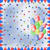 Bright multicolored background. With balloons and confetti Royalty Free Stock Image