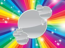 Bright multicolored background. With space for text on a shiny grey circle Stock Images