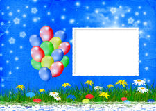 Bright multicolored background  with balloon Stock Photo