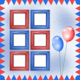 Bright multicolored background with frames, balloons Royalty Free Stock Image