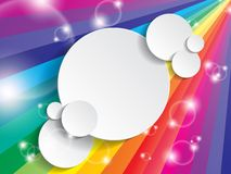 Bright multicolored background with space for text. On a paper circle Stock Photography