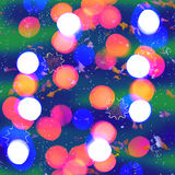 Bright multicolored blurry lights as holiday background Stock Photos